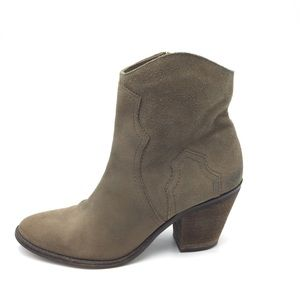 Brown Suede Leather Ankle Boots Western